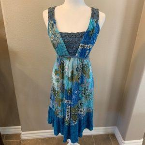 Forbidden Blue BOHO Empire Waist Dress